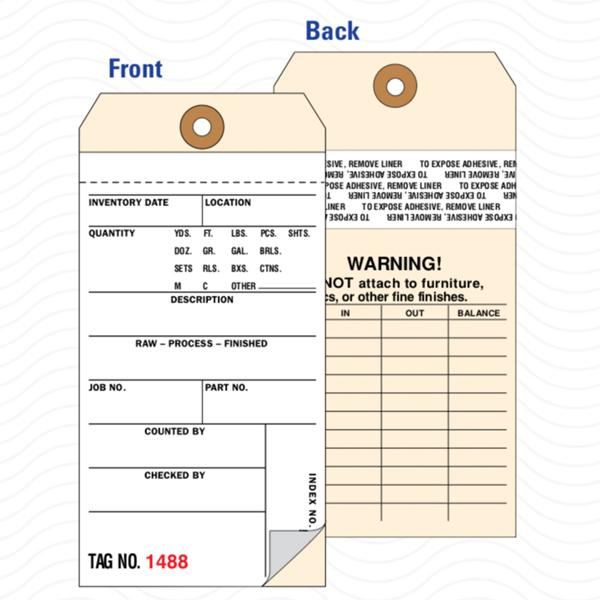 [Image: 2-Part Carbonless Inventory Tag with Removable Self-Adhesive Transfer Tape]