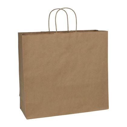 "[Image: Brown Kraft Shopping Bag with Handles, Custom, Extra Large, Recycled, 16 x 6 x 15 1/2""]"