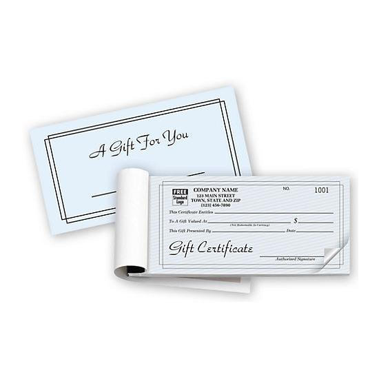 [Image: Personalized Gift Certificate Book With Carbon Copy]