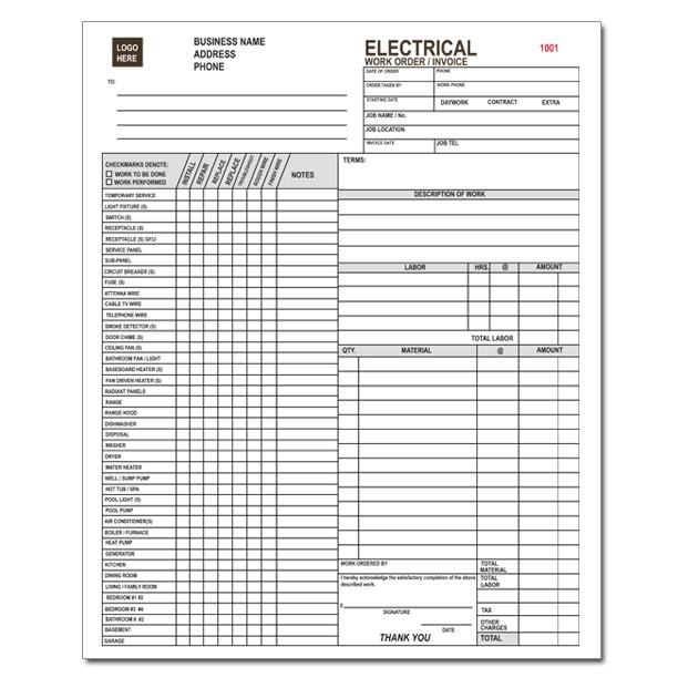 Electrical Contractor Forms - Custom Carbonless | DesignsnPrint