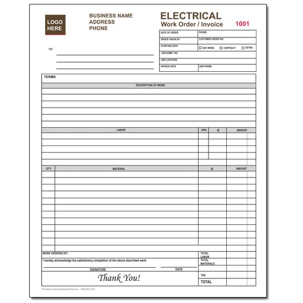 Electrical Contractor Forms Custom Carbonless Orders DesignsnPrint - Electrical contractor contract template