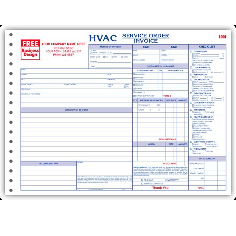 HVAC Contractor Invoice Form Custom Form Printing DesignsnPrint - How do i create an invoice for service business