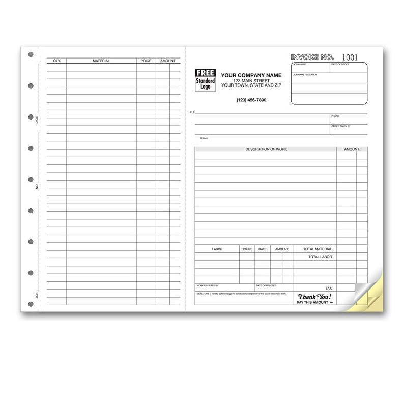 "[Image: Work orders with perforated Side-Stub, Horizontal, Preprinted, Personalized, Large 8 1/2 x 11"", Carbonless Copies]"