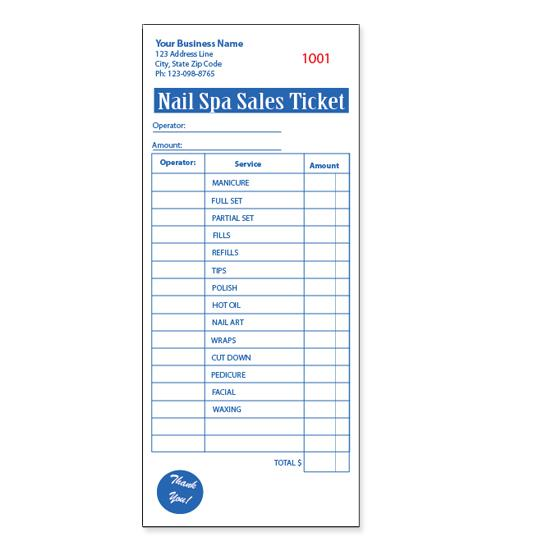 [Image: Nail Salon Receipt Book - Spa Ticket]