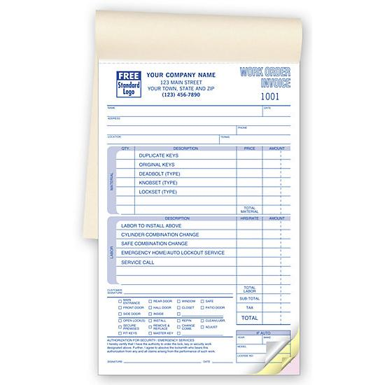 [Image: Locksmith Work Order Invoice Book]