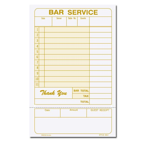 [Image: Custom Printed Guest Check - Bar Service]