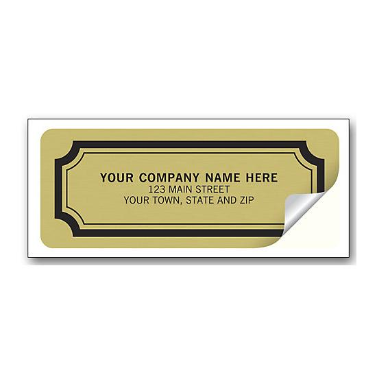 [Image: Advertising Labels - Embossed Gold Foil Paper -  2 1/2 x 1]