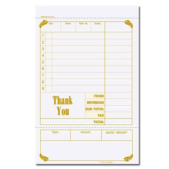 [Image: Custom Printed Guest Check]