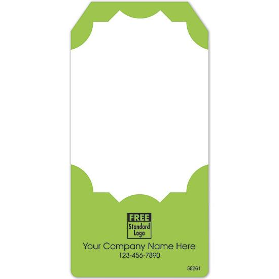 [Image: Adhesive Tag Shaped Label In Green & White 2x4]