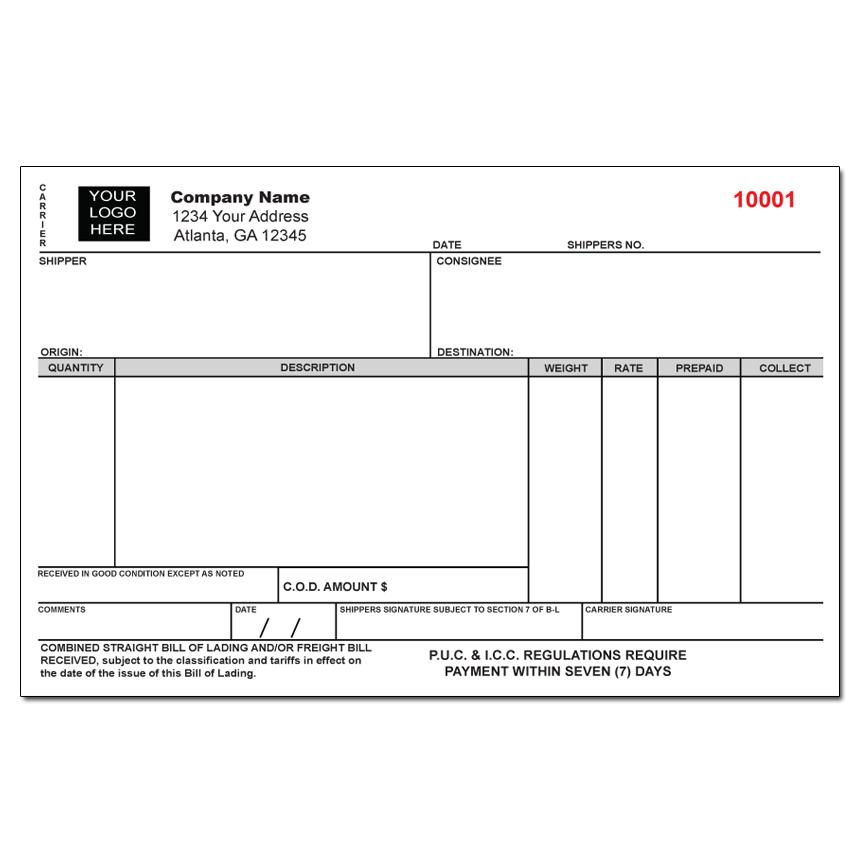 Custom Freight Bill Of Lading Form