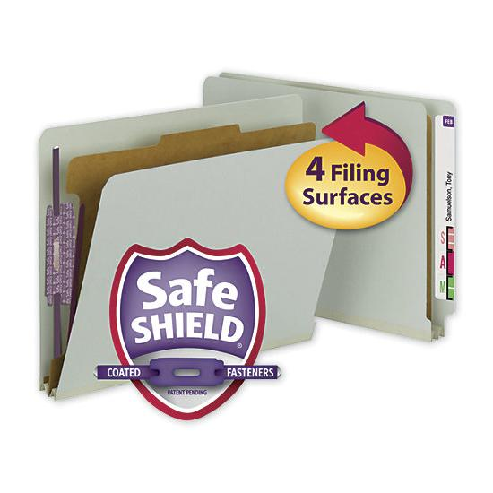 [Image: Smead End Tab Folder With SafeSHIELD Fasteners, 25 PT]