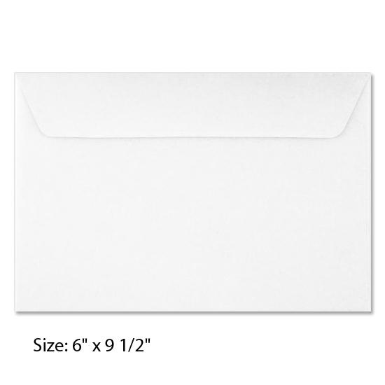 [Image: 6 x 9 1/2 White Booklet Envelope - Custom Printed]