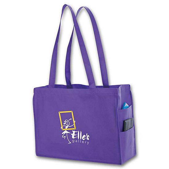 [Image: Non-woven side Pocket Tote - Small - Custom Printed]