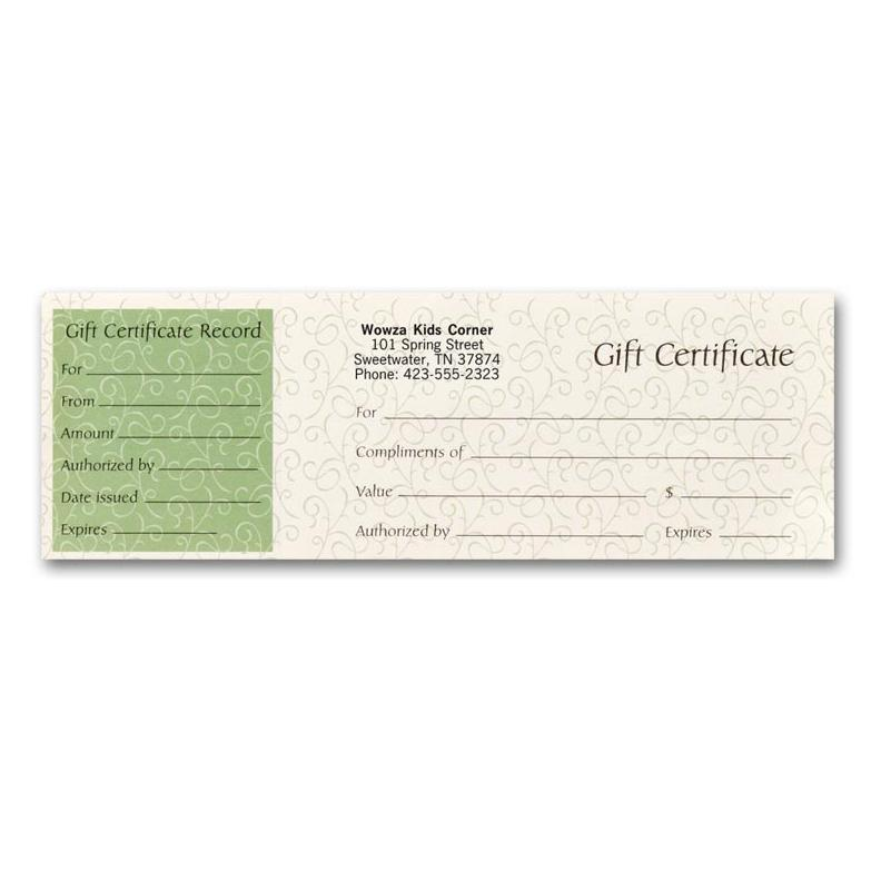 [Image: 833, Gift Certificates, Paradise Green]