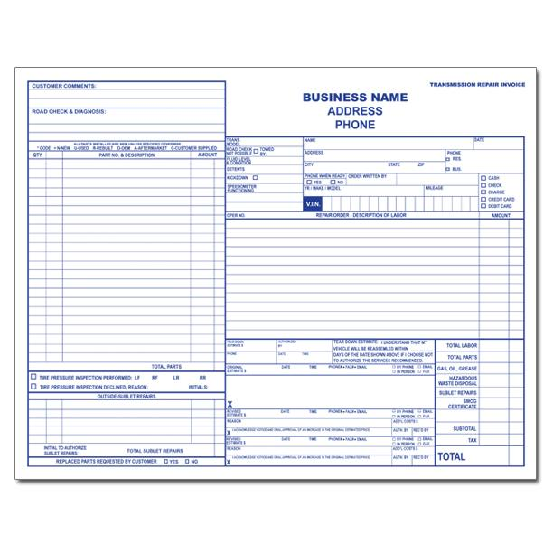 Auto Repair Invoice Custom Carbonless Printing