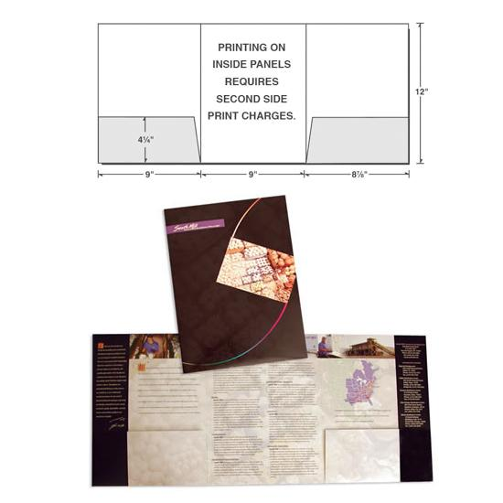 [Image: Custom Presentation Folder With Three Panels & Two Outer Pockets]