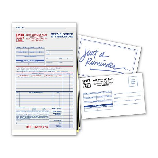 [Image: Repair Work Order Form Printed With Matching Reminder Card - Carbons]