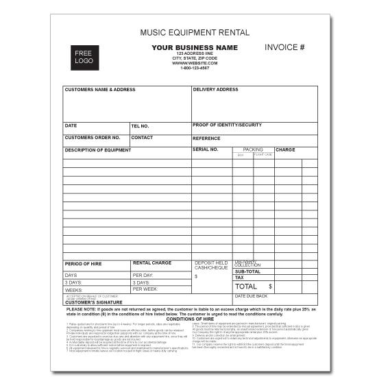 [Image: Music Equipment Invoice - Rental or For Hire]