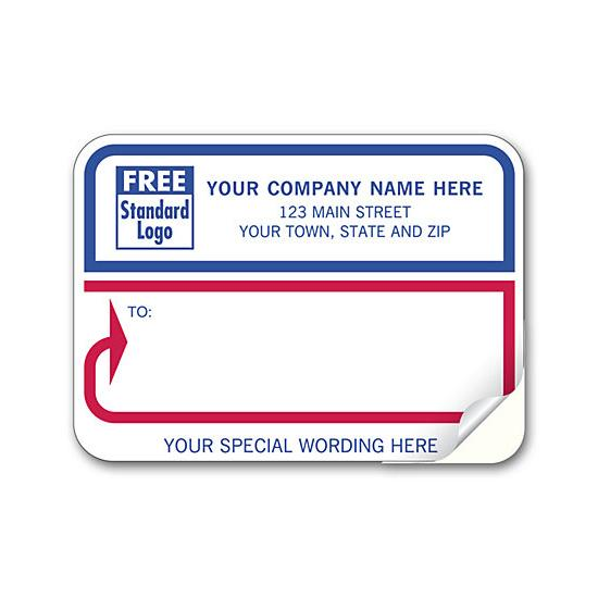[Image: Shipping Label - Return Address Label Padded, White With Blue & Red Borders]
