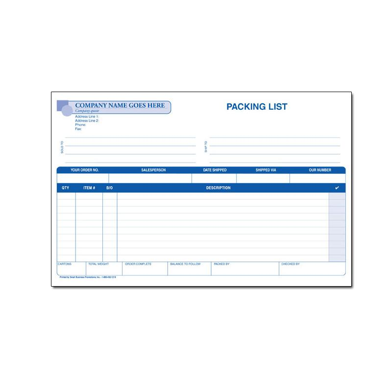 [Image: Custom Packing List Invoice Small]