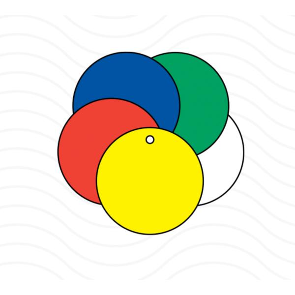 [Image: Colored Vinyl Circle Tags with Metal Eyelet]