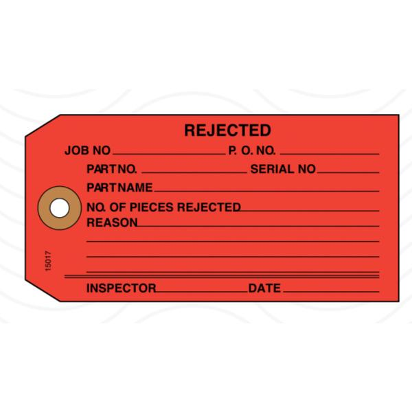 [Image: Rejected Tag, Inspection Tag, Red]