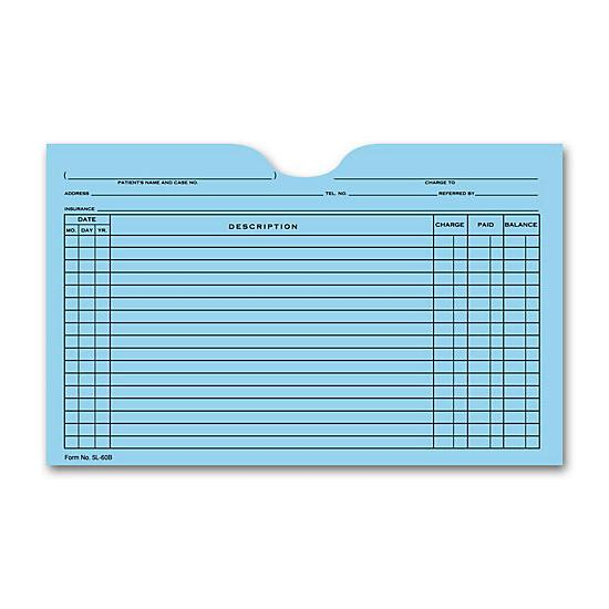 [Image: Printed Card File Pocket, Single Column, Blue]