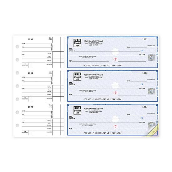 [Image: 3-On-A-Page Business Size Checks, Side-Tear Voucher 53220DS]
