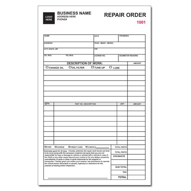 Auto Repair Orders Forms - Canelovssmithlive.Co