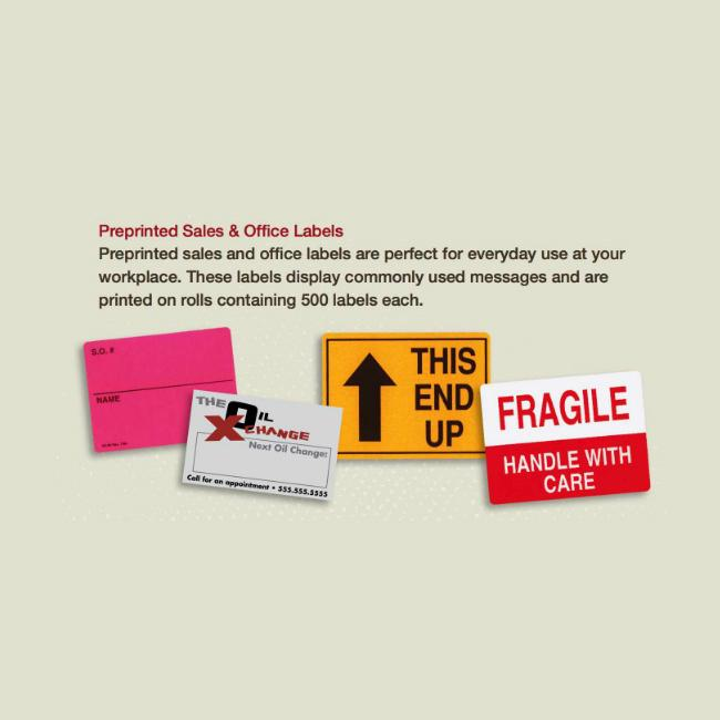 [Image: Preprinted Sales & Office Labels]