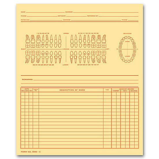 [Image: Dental Exam Record, Numbered Teeth System C, Folder Style]