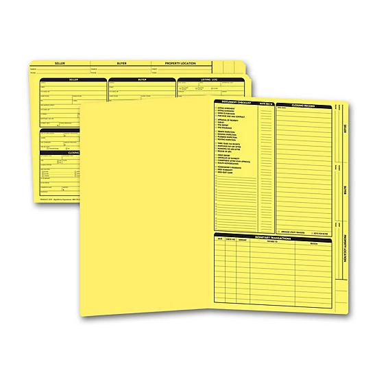 [Image: Real Estate Folder, Right Panel List, Legal Size, Yellow]