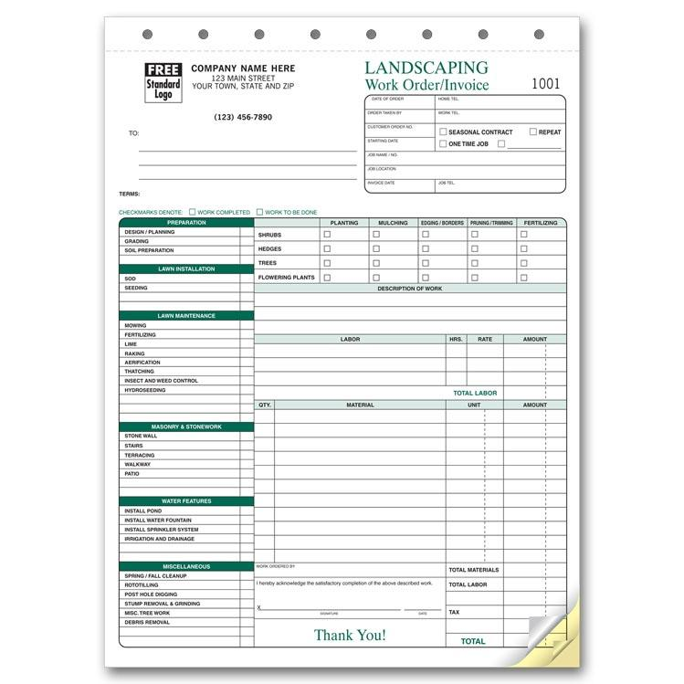 Landscaping Invoice Work Order DesignsnPrint - How to create a business invoice for service business