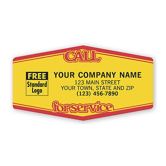 [Image: Call For Service, Tuff Shield Labels, Yellow With Red]