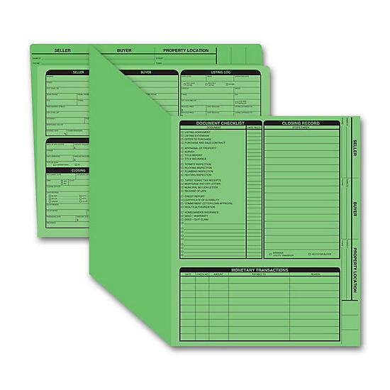 [Image: Real Estate Folder, Right Panel List, Letter Size, Green]