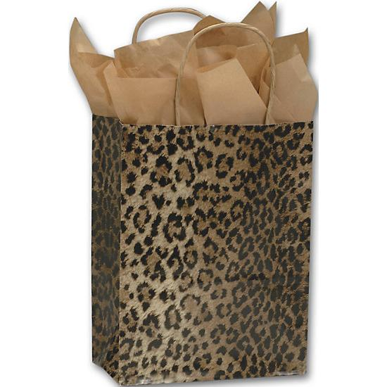 "[Image: Leopard Printed Paper Shopping Bag With Handles & Square Bottom, 8 1/4 X 4 3/4 X 10 1/2"", Retail Bags]"