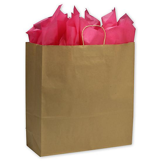 "[Image: Kraft Paper Shopping Bag With Handles & Square Bottom, Jumbo, 18 X 7 X 19"", Retail Bags]"