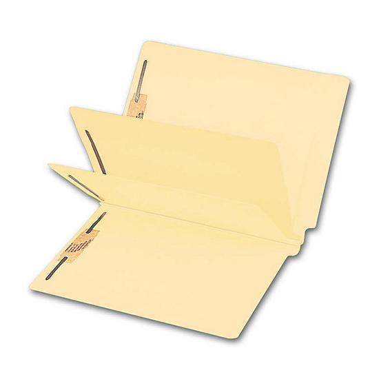 [Image: End Tab Double Divider Manila Folder, 14 Pt, Multi-Fastener]