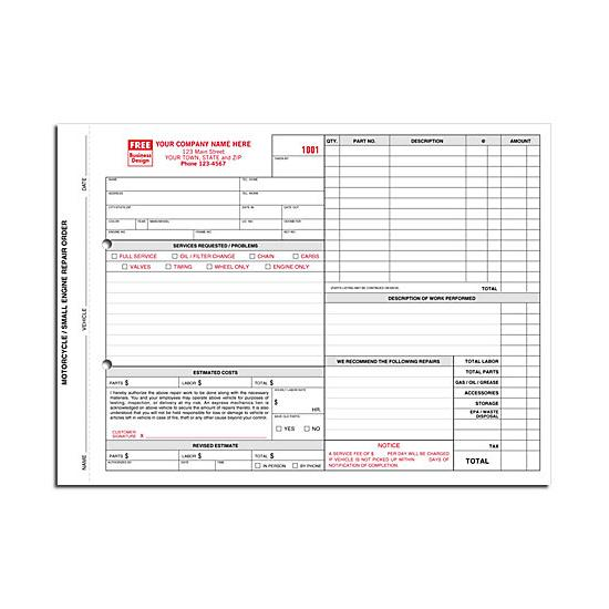 [Image: Small Engine Motorcycle Repair Order Form - With Carbons]