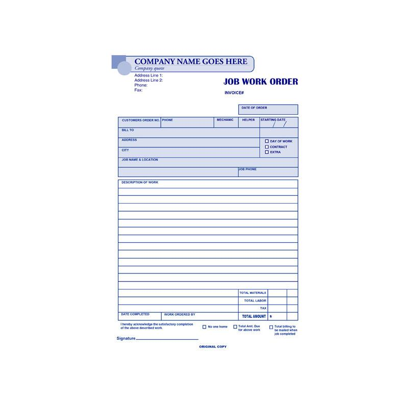 Carbonless Work Order Forms | DesignsnPrint