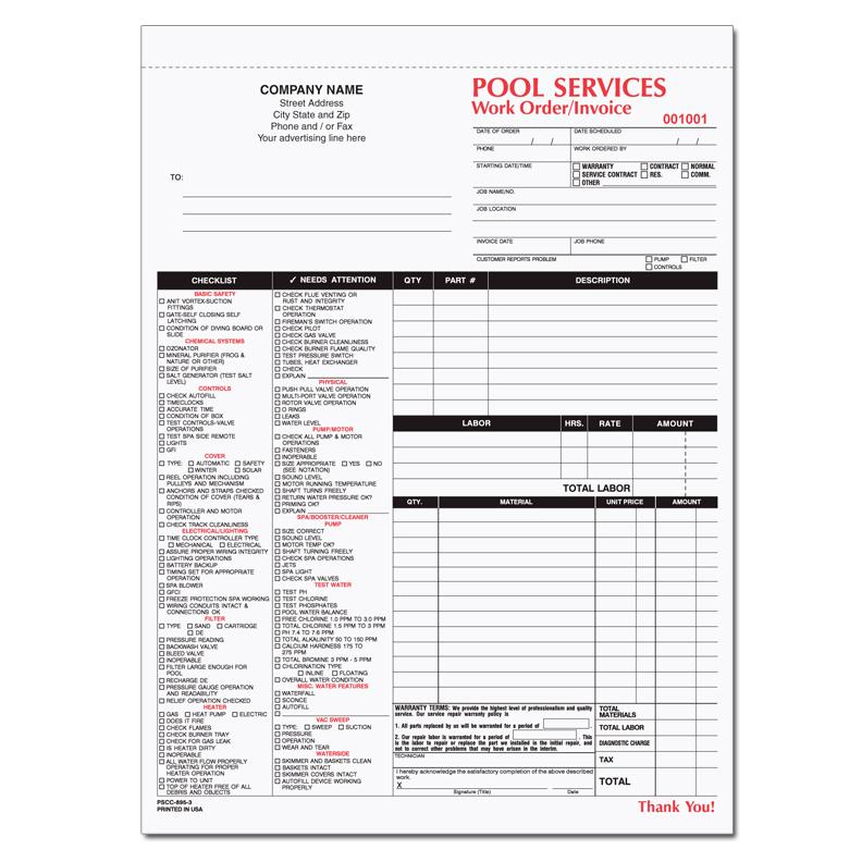 POOL SERVICES WORK ORDER