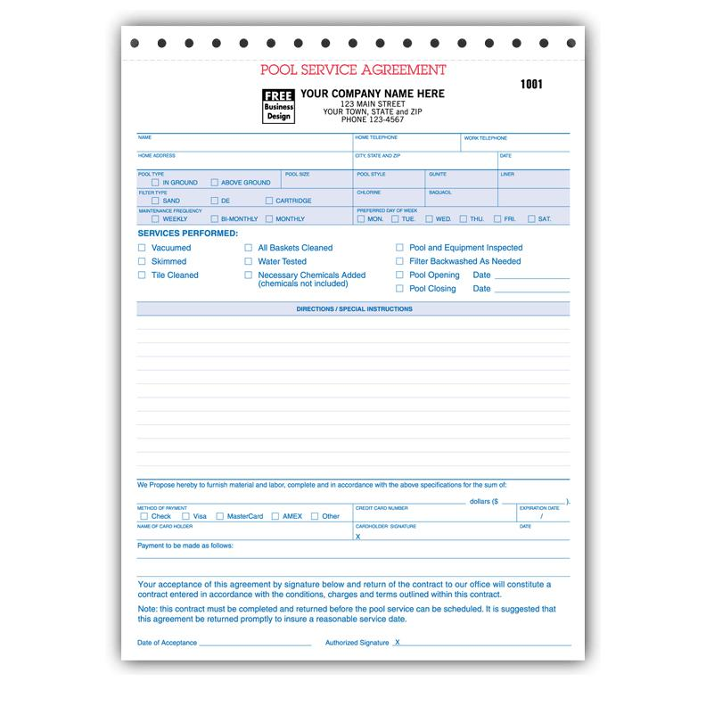 spa  u0026 pool business invoice forms