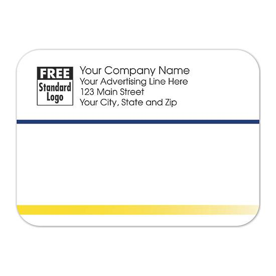 [Image: Shipping Label - Return Address Label White with Navy & Yellow Stripes]