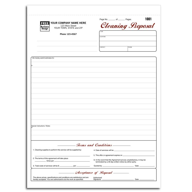 Cleaning And Janitorial Invoice Forms Designsnprint