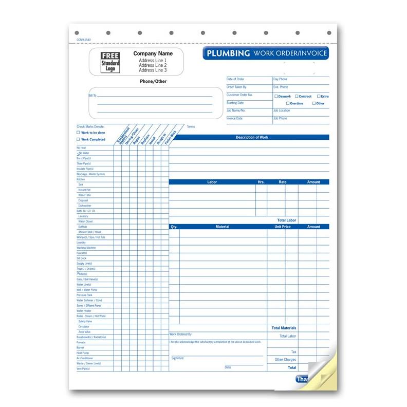 plumbing invoice with checklist