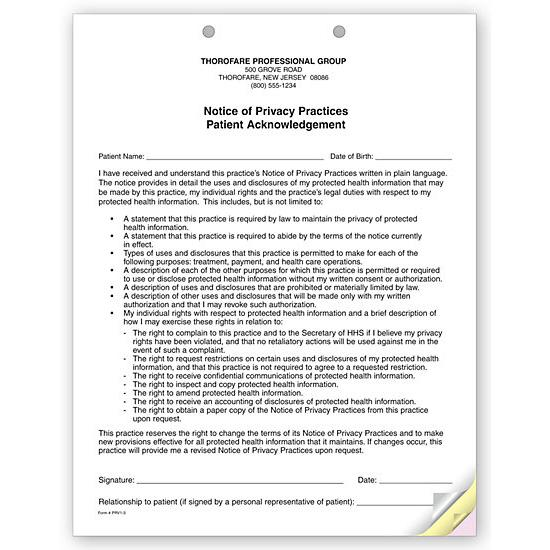 notice of privacy practices template - 3 part notice of privacy practices hipaa acknowledgment