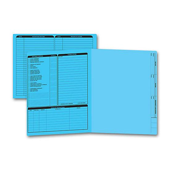 [Image: Real Estate Folder, Left Panel List, Letter Size, Blue]