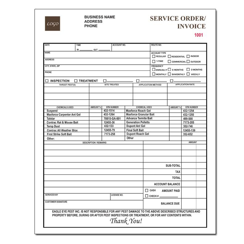 Pest control invoice forms work order proposal for Pest control invoice pdf