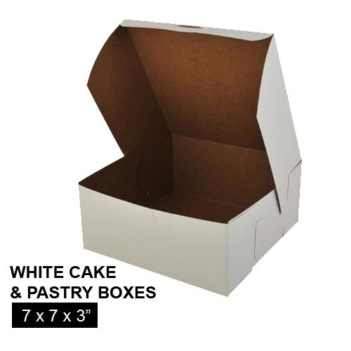 [Image: WHITE CAKE AND PASTRY BOX 7 x 7 x 3]