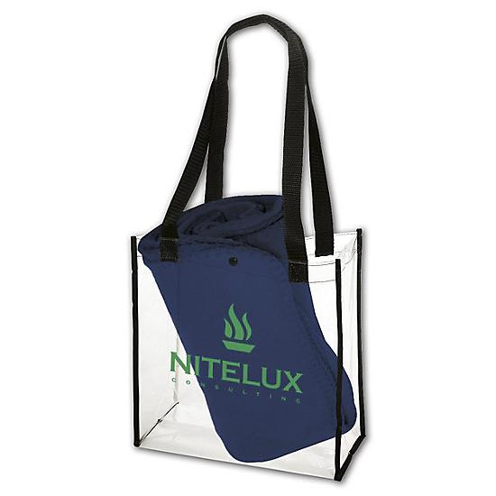 [Image: Clear Stadium Tote & Econo Blanket Combo - Personalized]